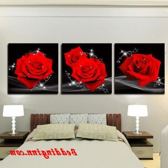 2017 Red Rose Wall Art Intended For New #rose #wallart New Arrival Amazing Red Roses Print 3 Piece Cross (Gallery 15 of 15)