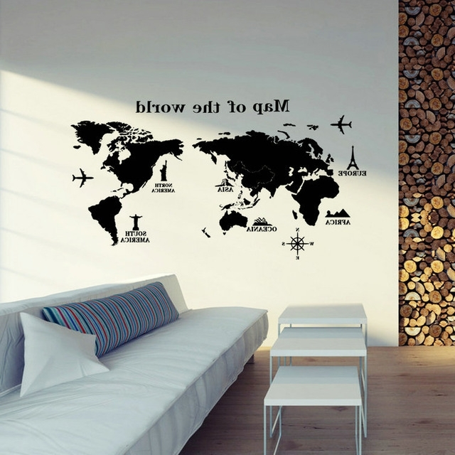 2017 Removable Pvc Vinyl Art Room World Map Decal Mural Home Decor Diy With World Wall Art (Gallery 7 of 15)