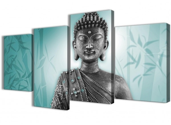 2017 Silver Buddha Wall Art For Large Teal And Grey Silver Canvas Art Prints Of Buddha – Split 4 Set (View 2 of 15)