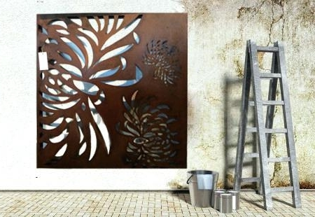 2017 Stainless Steel Outdoor Wall Art Throughout Stainless Wall Art Wall Art Ideas Design Chrysanthemum Wooden High (View 2 of 15)