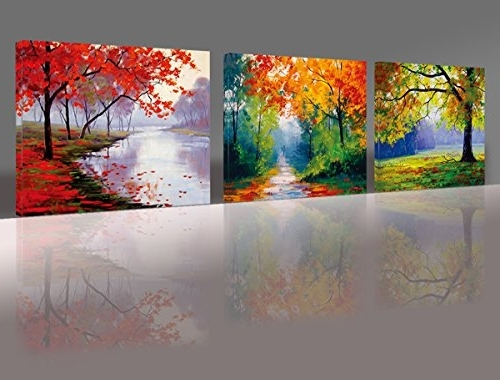 2017 Three Panel Wall Art throughout Nuolan Art -Canvas Prints, 3 Panel Wall Art Oil Paintings Printed