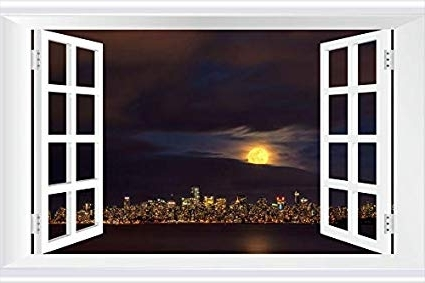 2017 Vancouver 3D Wall Art Intended For Amazon: Shobrilf Amazing Golden Moon Above Vancouver – World (View 2 of 15)