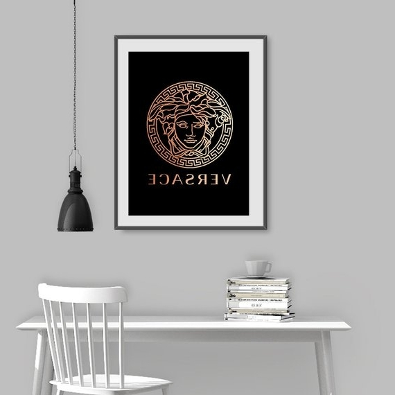 2017 Versace Wall Art Versace Sign Fashion Printable Rose Gold (View 10 of 15)
