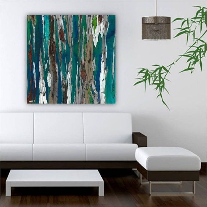 2017 Very Large Blue Teal Canvas Print Wall Art Abstract, Living Room Within Blue Canvas Abstract Wall Art (View 1 of 15)