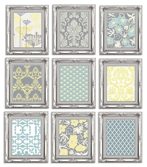 2017 Wall Art Print Sets With Regard To Gallery Wall Art Arrangement In Grey,blue, And Yellow – Contemporary (View 8 of 15)
