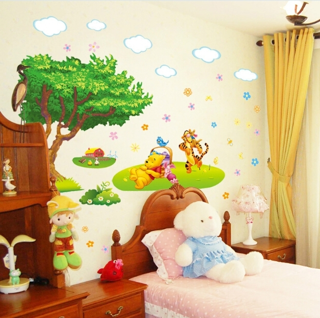 2017 Winnie The Pooh Wall Sticker Baby Kids Room Poster Cartoon Wallpaper With Regard To Winnie The Pooh Wall Decor (View 7 of 15)
