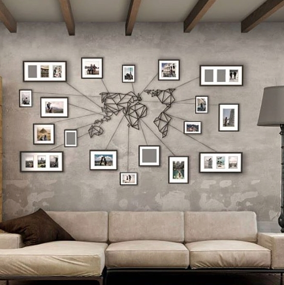 2017 World Wall Art for Awesome Minimalistic Metal World Map Wall Art. Stands Out Due Due To