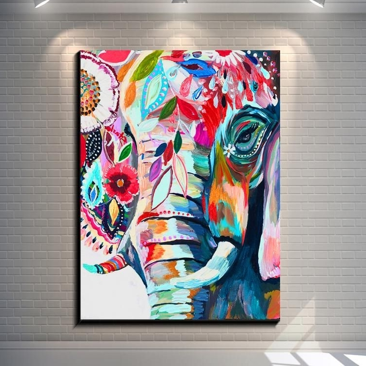2018 2017 Vintage Abstract Elephant Creative Posters Painting Pictures Intended For Abstract Elephant Wall Art (View 14 of 15)