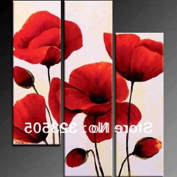 2018 3 Panel Red Poppy Floral Canvas Wall Art Abstract Modern Acrylic Throughout Red Poppy Canvas Wall Art (View 1 of 15)