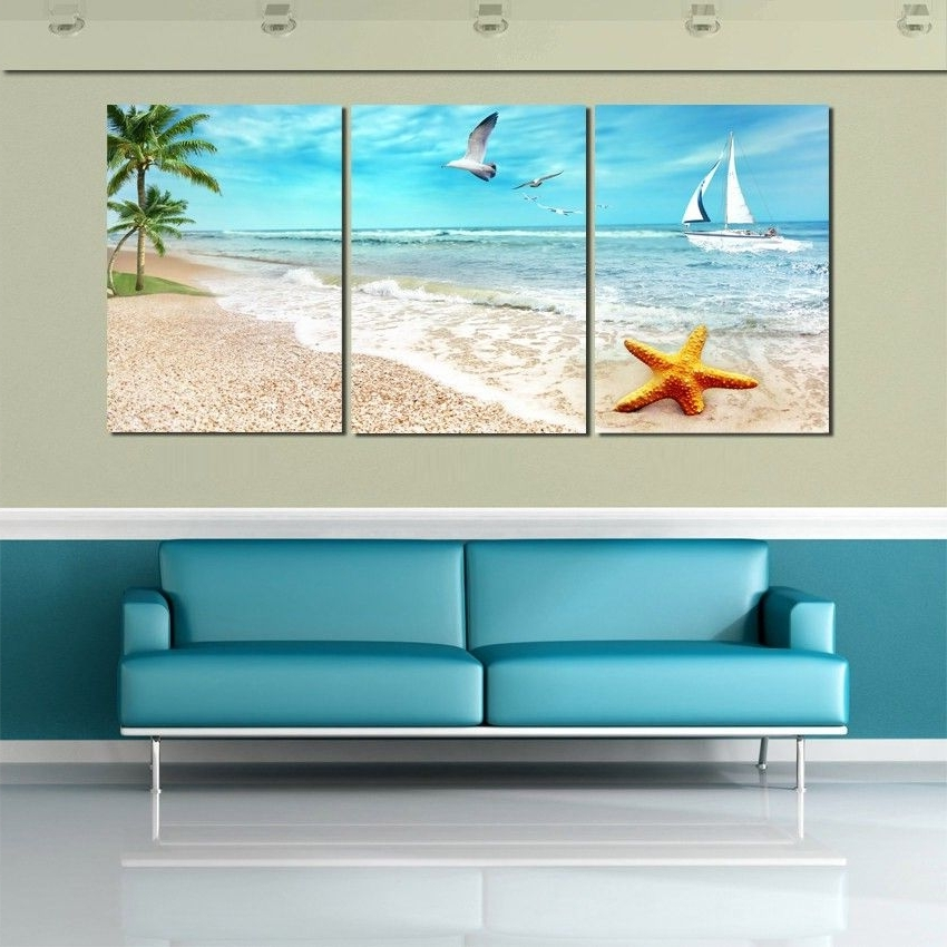2018 3 Piece Beach Wall Art Within 3 Piece Rectangle Modern Paintings Home Decor Beautiful Seascape (View 4 of 15)