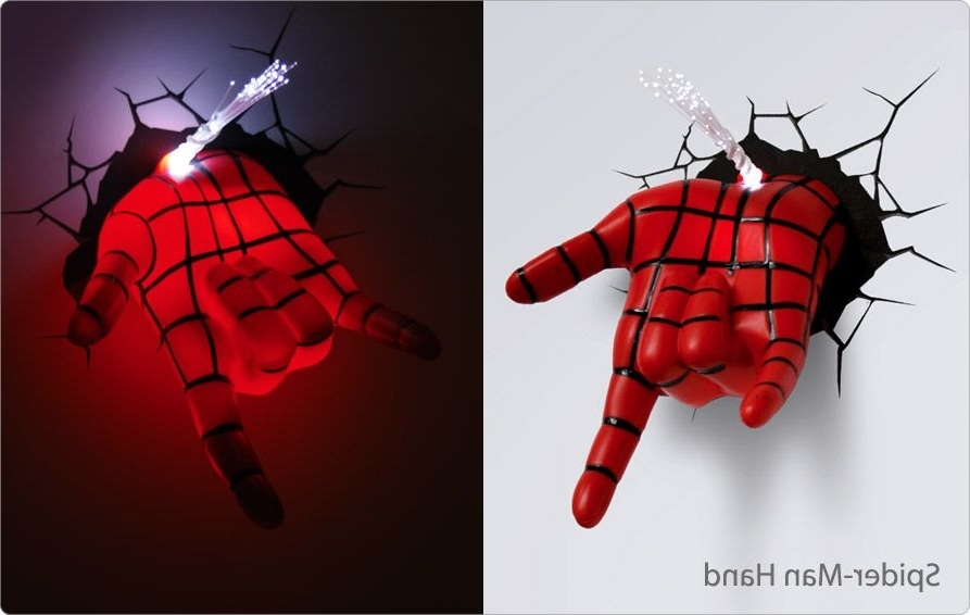 2018 3D Wall Art Night Light Spiderman Hand With Lámparas 3D De Superhéroes (View 9 of 15)