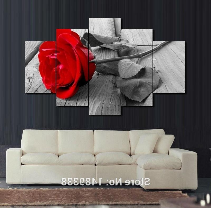 2018 5 Panel Red Rose Canvas Oil Painting Home Decoration Wall Art For Popular Red Rose Wall Art (View 2 of 15)