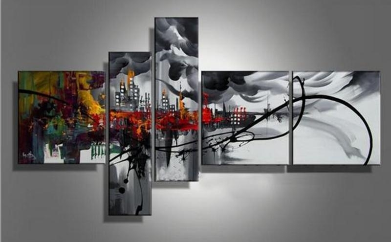 2018 5 Panels Handpainted Abstract Cityscape Building Oil Canvas Intended For Most Recently Released 7 Piece Canvas Wall Art (View 12 of 15)