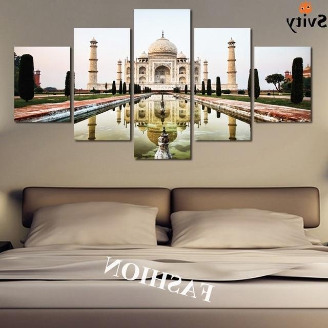 2018 5Pcs Modern Simple India Taj Mahal Shadow Landscape Poster Canvas For Taj Mahal Wall Art (View 3 of 15)