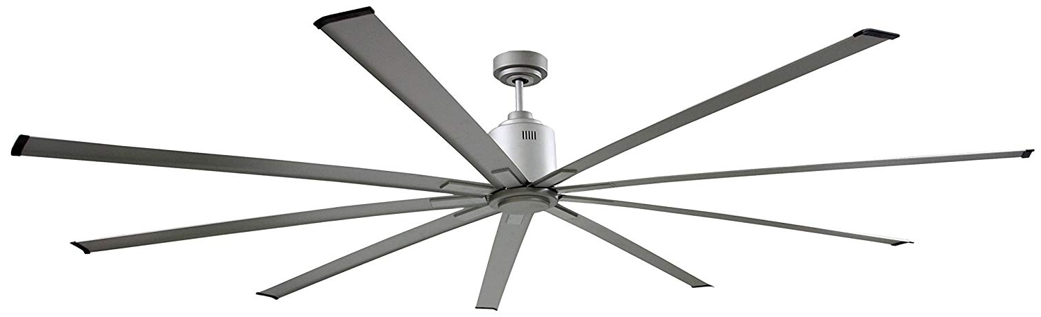 2018 72 Inch Outdoor Ceiling Fans With Light Regarding Amazon: Big Air Icf96Ups Industrial Ceiling Fan, 96 Inch, Silver (View 14 of 15)
