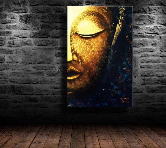"2018 Abstract Buddha Wall Art Inside Oil Painting, Modern Art, ""glowing Buddha"", Canvas Art, Paintings On (View 2 of 15)"