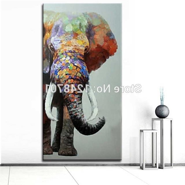 2018 Abstract Elephant Wall Art For Large Size Hand Painted Abstract Elephant Oil Painting On Canvas (View 2 of 15)