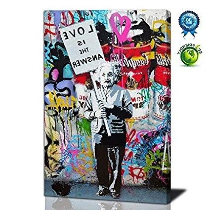 "2018 Abstract Graffiti Wall Art For Amazon: Graffiti Art, ""love Is The Answer"" Large Wall Art (View 1 of 15)"