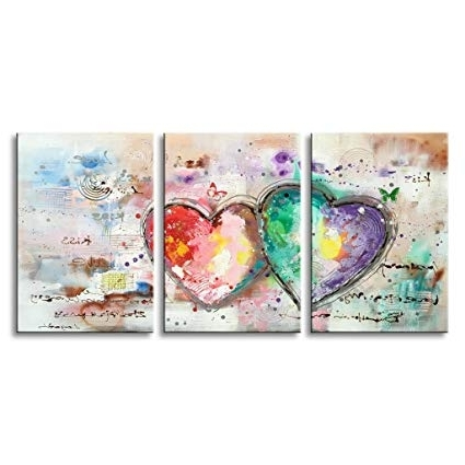 2018 Abstract Heart Wall Art In Amazon: Everfun Handmade Oil Painting 3 Panels Contemporary (View 13 of 15)