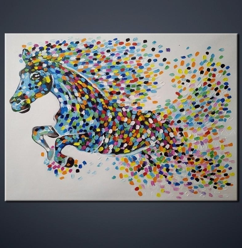 2018 Abstract Horse Gift Modern Wall Art Handmade Oil Painting Regarding Most Up To Date Abstract Horse Wall Art (View 1 of 15)