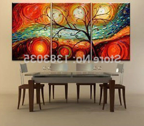 2018 Abstract Wall Art For Dining Room Throughout Hand Painted Tree Landscape Oil Paintings On Canvas 3 Piece Modern (View 1 of 15)