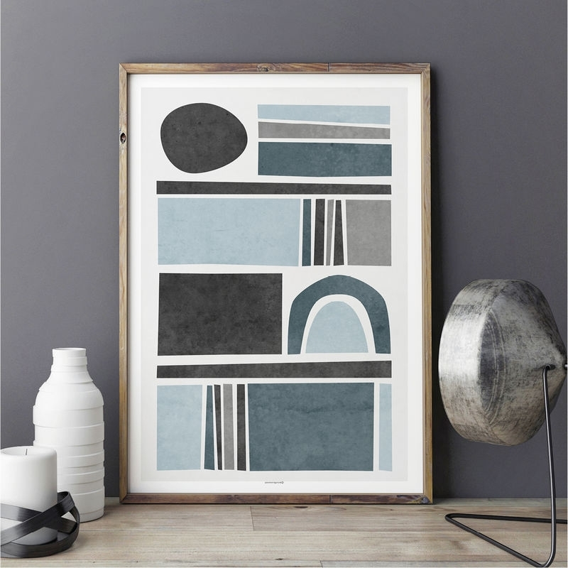 2018 Abstract Wall Art Prints – Living Room Art – Blue Grey Wall Art Intended For Abstract Wall Art For Living Room (View 4 of 15)