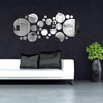 2018 Amazon: 30Pcs 3D Circle Mirror Wall Stickers Acrylic Vinyl Decal In 3D Circle Wall Art (View 5 of 15)