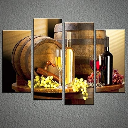 2018 Amazon: Grape And Wine Canvas Wall Art Framed Wine Canvas Print With Wall Art For Bar Area (View 7 of 15)