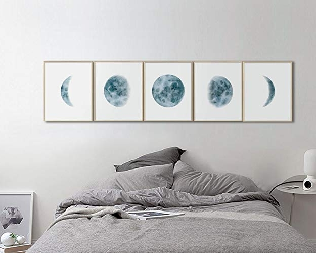 2018 Amazon: Moon Phases Wall Art Print, Bedroom Wall Art, Bedroom Throughout Bed Wall Art (View 2 of 15)
