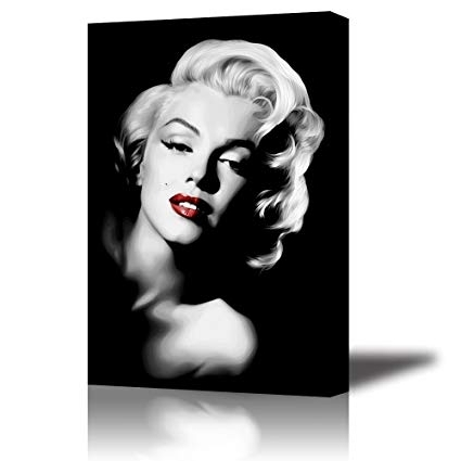 2018 Amazon: Piy Red Lips Marilyn Monroe Wall Art With Frame, Canvas Intended For Marilyn Monroe Wall Art (View 4 of 15)