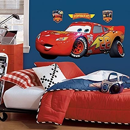 2018 Amazon: Roommates Rmk1518Gm Disney Pixar Cars Lightning Mcqueen Pertaining To Lightning Mcqueen Wall Art (View 2 of 15)