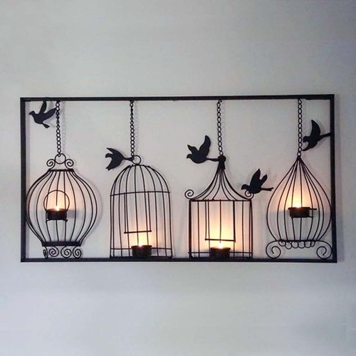 2018 Antique Birdcage Tlight Metal Wall Art Within Metal Birdcage Wall Art (View 3 of 15)