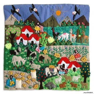 2018 Applique Patchwork Tapestry Peruvian Folk Art – Potato Harvest (View 2 of 15)