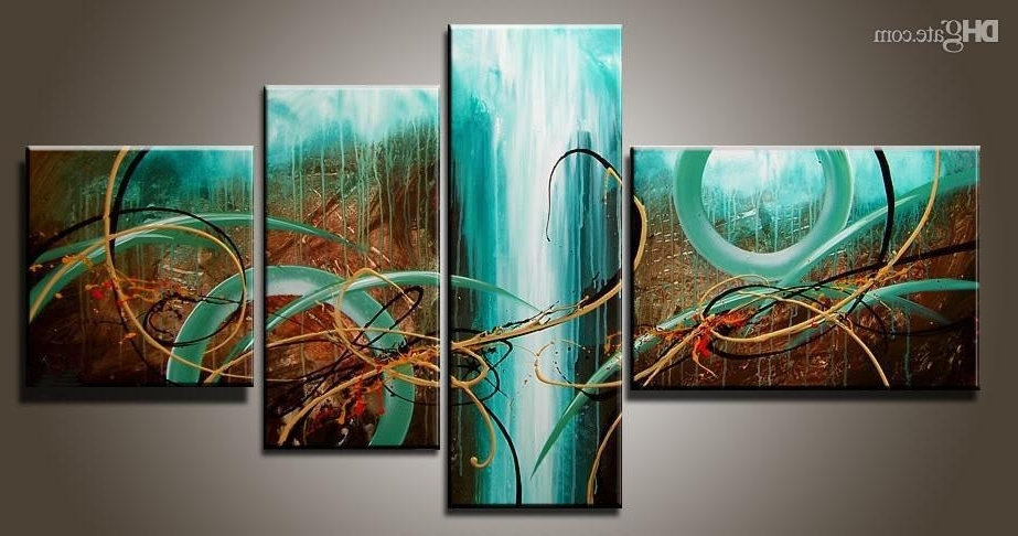 2018 Art Modern Abstract Oil Painting Multiple Piece Canvas Art Sets For Preferred Green Abstract Wall Art (View 3 of 15)