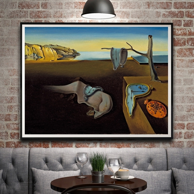 2018 Artwork Painting Salvador Dali Clocks Surreal Classic Art Silk Intended For Salvador Dali Wall Art (View 10 of 15)