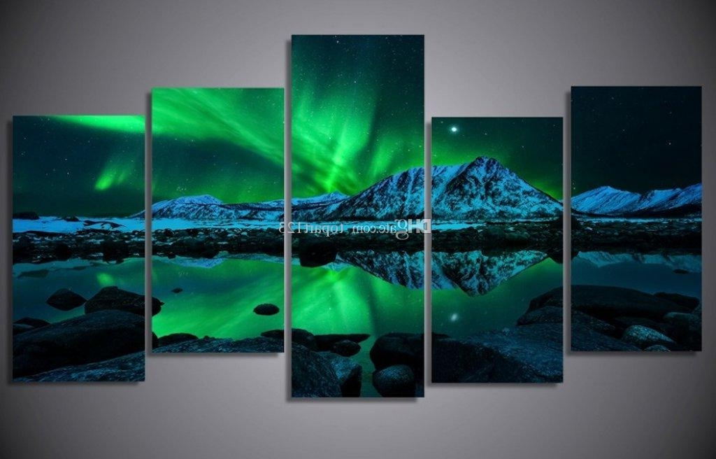 2018 Blue Green Modern Aurora Borealis Iceland Jokulsarlon Northern For Newest Green Canvas Wall Art (Gallery 15 of 15)