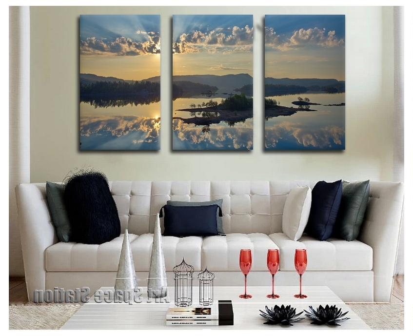 2018 Canvas Art Painting Modern Prints Artwork Of Landscape 3 Piece Within Famous Large Cheap Wall Art (View 3 of 15)