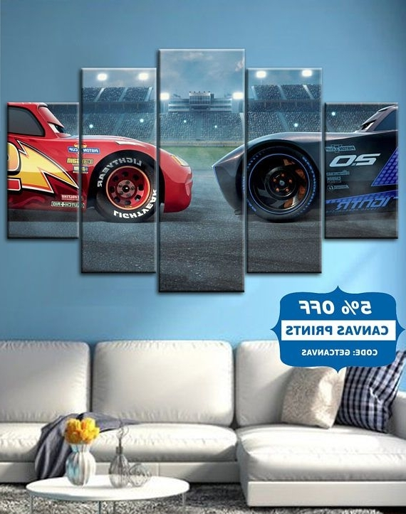 2018 Cars 3 ,lightning ,mcqueen , Movie Canvas Wall Art, Cars Poster Inside Lightning Mcqueen Wall Art (Gallery 13 of 15)