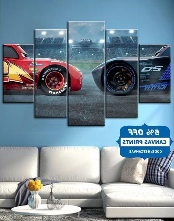 2018 Cars 3 ,lightning ,mcqueen , Movie Canvas Wall Art, Cars Poster Inside Lightning Mcqueen Wall Art (View 13 of 15)