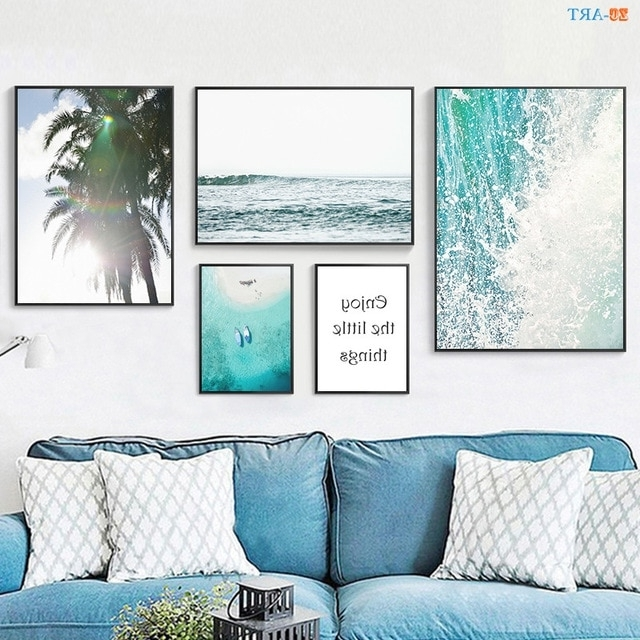 2018 Coastal Wall Art Canvas throughout Nordic Ocean Landscape Canvas Painting Poster And Print Leaves