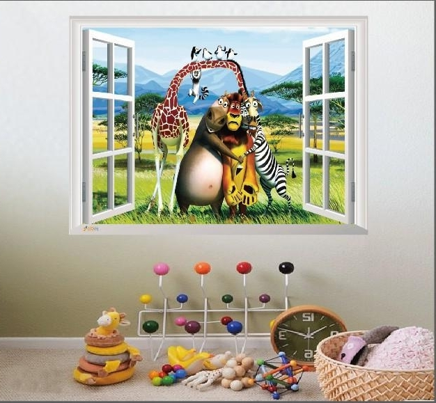 2018 Colorful Madagascar 3D Wall Sticker Pvc Cartoon Animals Wall Art With Regard To 3D Wall Art Window (View 2 of 15)