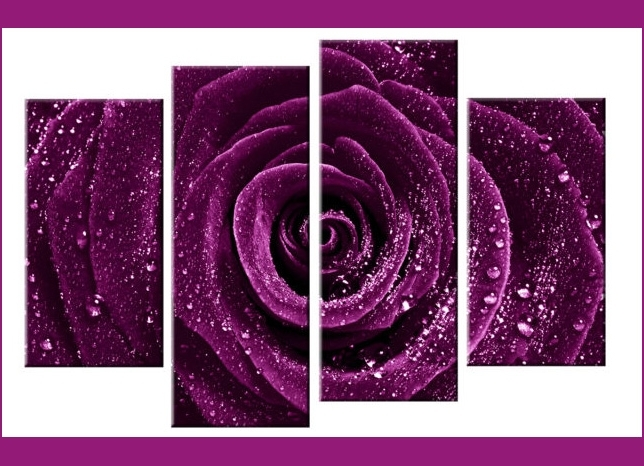 2018 Deep Plum / Purple Rose With Water Droplets Dew – 4 Panel Split Pertaining To Plum Coloured Wall Art (View 7 of 15)
