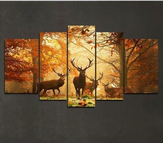 2018 Deer Pattern Oil Painting Wall Art Picture Modern Home Decor In Popular Oil Painting Wall Art On Canvas (View 2 of 15)