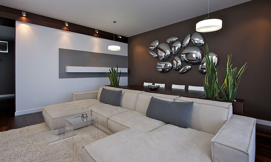 2018 Designs Ideas : Ultra Modern Living Room With Sectional Sofa And Within Contemporary 3D Wall Art (View 2 of 15)