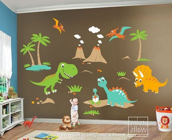 2018 Dinosaur Wall Art For Kids With Regard To Children Wall Decals Dino Land Dinosaurs Wall Decal Wall Sticker (Gallery 1 of 15)