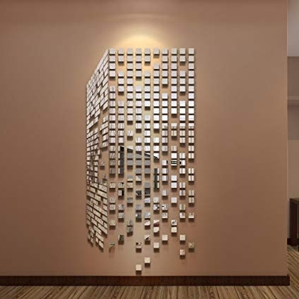 2018 Diy Mirror Wall Art With Amazon: 290Pcs Diy Mirrors Wall Stickers Home Decor Living Room (View 3 of 15)