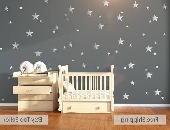 2018 Etsy Childrens Wall Art Regarding Nursery Wall Decals Wall Stickers 120 Silver Metallic Stars (View 5 of 15)