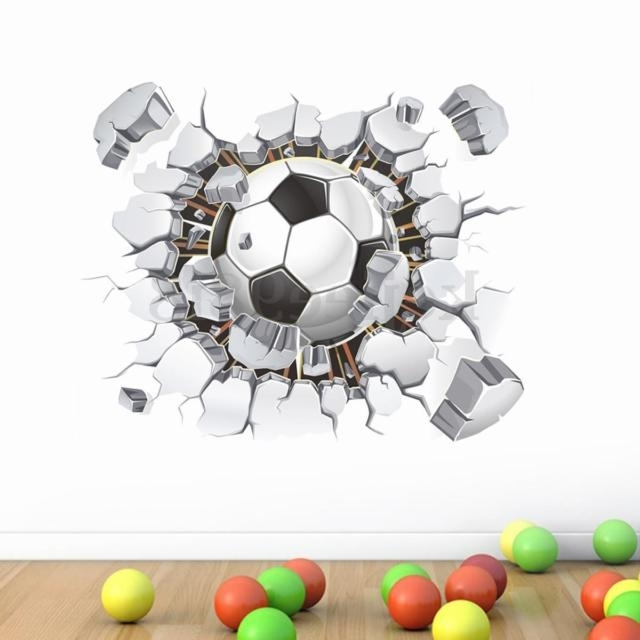 2018 Football 3D Wall Art In 3D Football Wall Sticker Vinyl Art Soccer Crack Decal Boys Room (View 1 of 15)