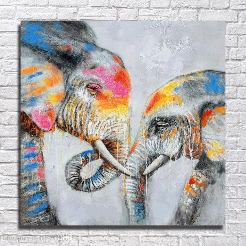 2018 Framed Two Loved Elephants,pure Hand Painted Modern Wall Decor Intended For Well Known Abstract Elephant Wall Art (View 4 of 15)