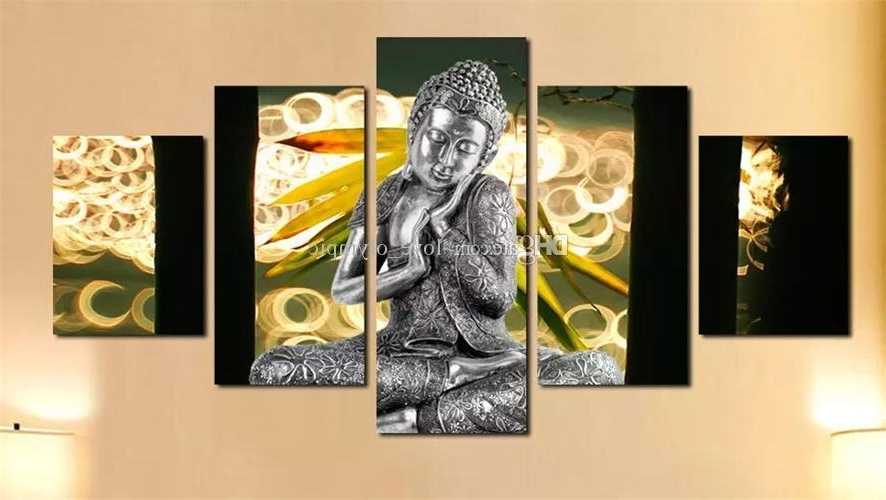 2018 Framed,huge 5 Panel Hand Painted Modern Abstract Buddha Home With Newest Abstract Buddha Wall Art (View 5 of 15)